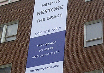 Photo: Donate to the Grace, TEXT: Grace TO: 45678 and donate $10