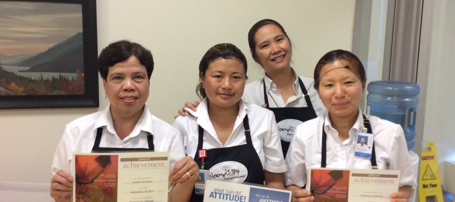 Dietary staff receive food safety award.